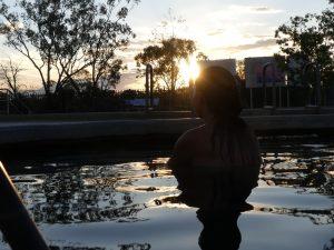 Coucher de soleil sur les bains artésiens