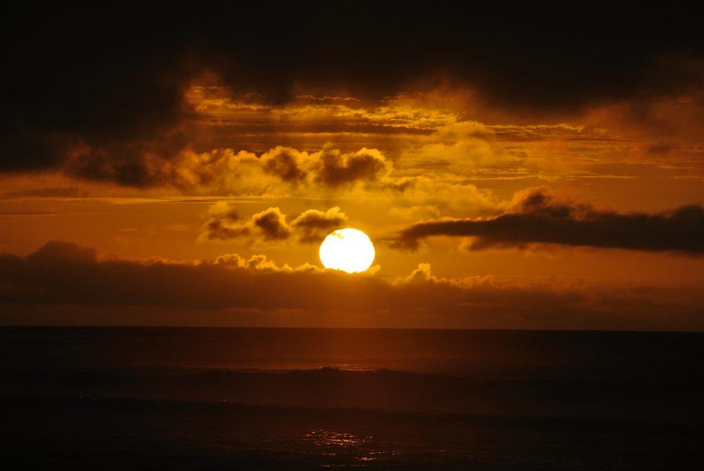 coucher de soleil à Hokitika