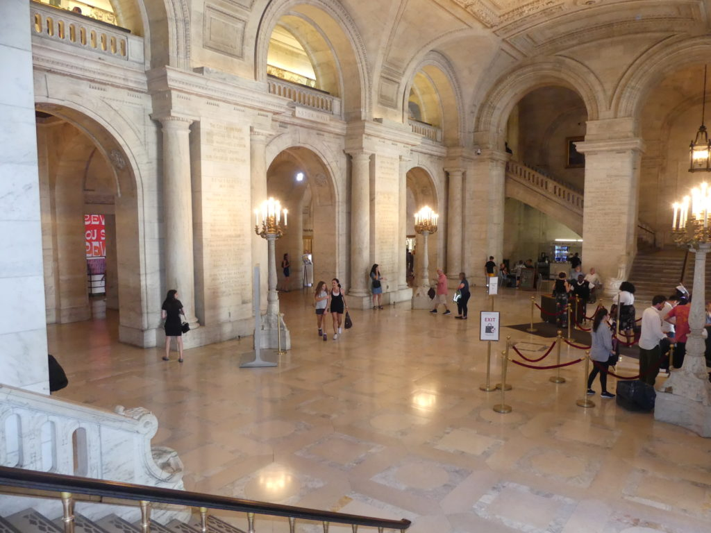 NY Public Library Main Branch : le hall d'entrée