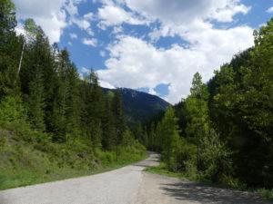 New Denver : fin de la route enrobée en direction de Sandon