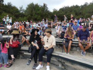 Quelques spectateurs devant le Geyser