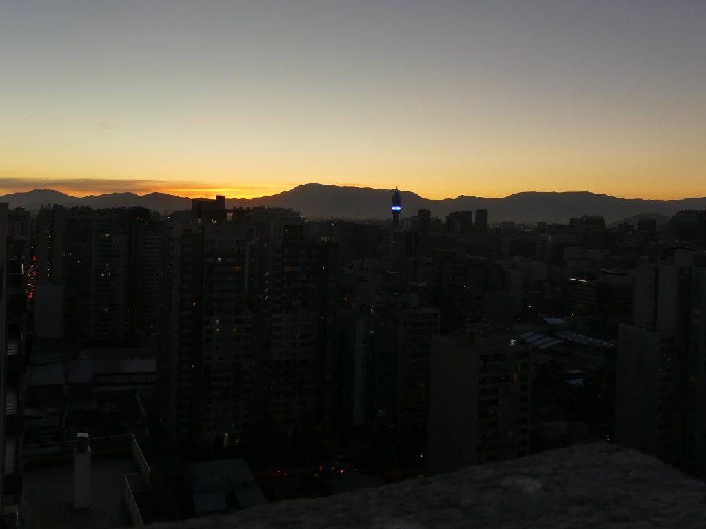 coucher de soleil à Santiago