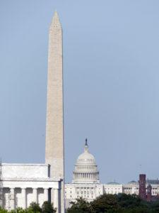 """une photo des """"big 3"""" de Washington (on ne peut pas avoir la maison blanche en même temps, elle n'est pas alignée)"""