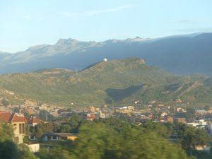 vue le matin sur Cochabamba et son christ