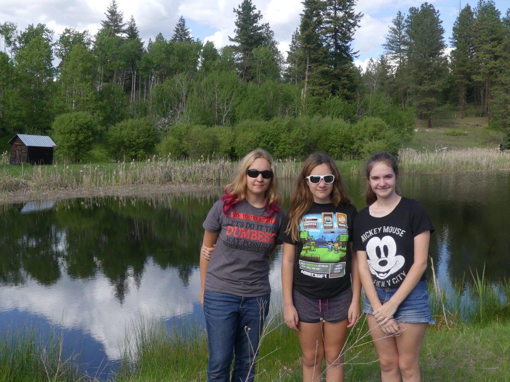 trois sœurs dans un paysage bucolique